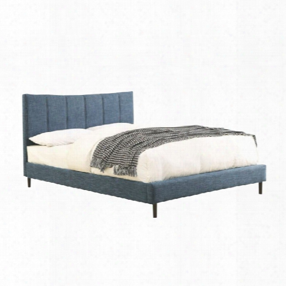 Furniture Of America Sislah Upholstered Queen Bed In Dark Blue