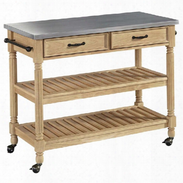 Home Styles Savannah Stainless Steel Top Kitchen Cart In Natural Maple