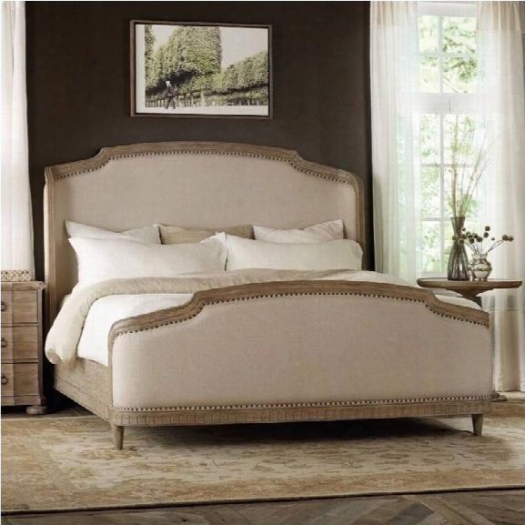 Hooker Furniture Corsica Upholstered Shelter Bedroom Set In Light Wood