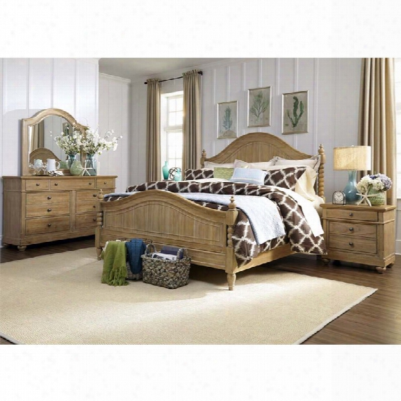 Liberty Furniture Harbor View 4 Piece King Poster Bedroom Set In Sand