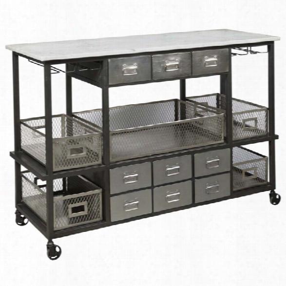 Pulaski Jasper Mwrble Top Kitchen Cart In Silver