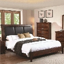 Coaster Noble Upholstered King Panel Bed in Rustic Oak