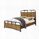 Furniture of America Calvin California King Metal Bed in Dark Oak