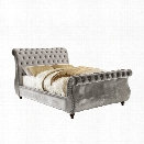 Furniture of America Luxy Upholstered King Sleigh Bed in Gray