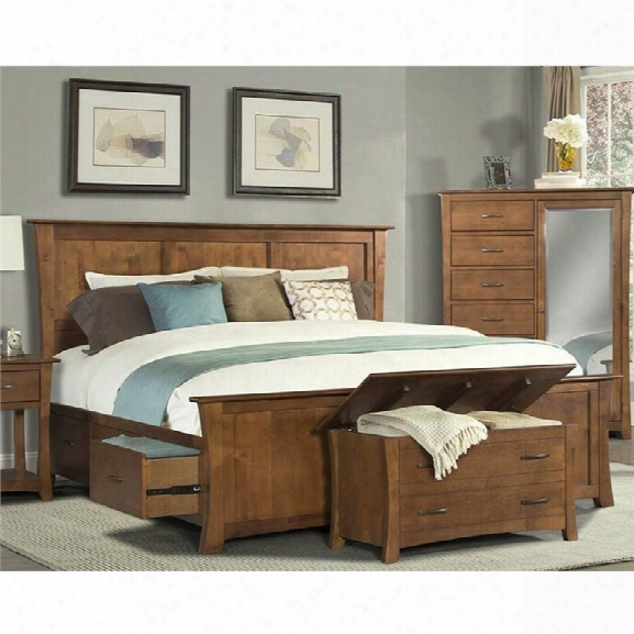 A-aerica Grant Park King Panel Bed In Pecan