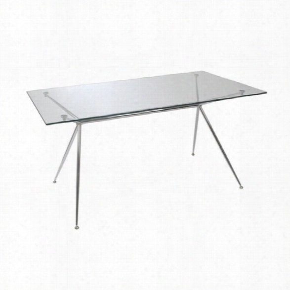 Eurostyle Atos 66 Rectangular Dining Table In Clear Glass And Chrome