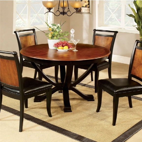 Furniture Of America Balon Round Dining Table In Acacia And Black