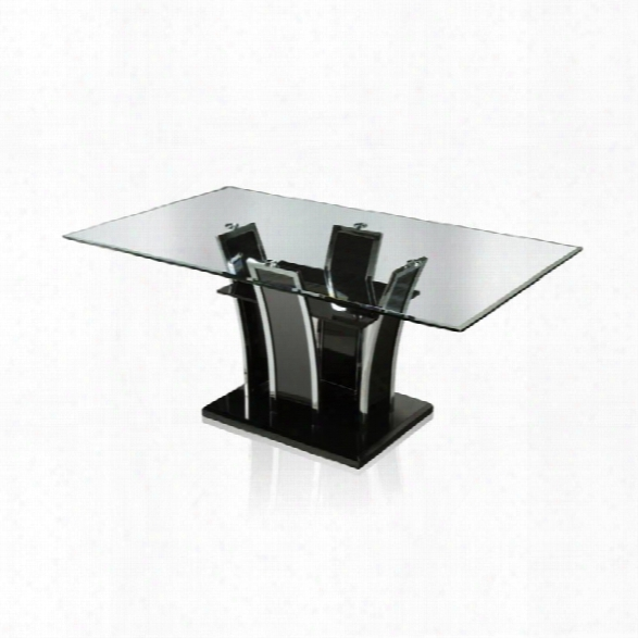 Furniture Of America Valery Glass Top Dining Table In Black