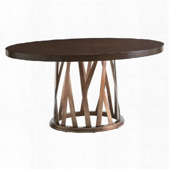 Lexington Zavala Horizons Round Dining Table In Bronze And Mocha Brown