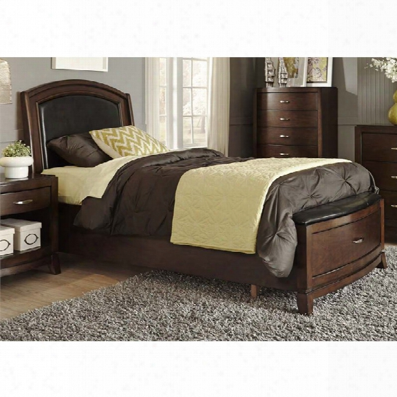 Liberty Furniture Avalon Full Faux Leather Storage Bed In Dark Truffle