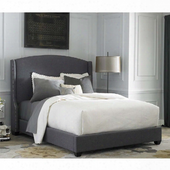 Liberty Furniture Linen Upholstered King Shelter Bed In Dark Gray