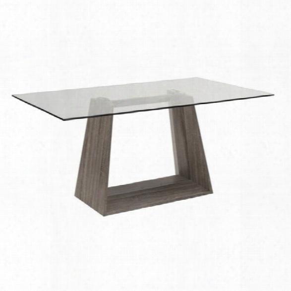 Maklaine Glass Top Rectangular Dining Table In Dark Sonoma
