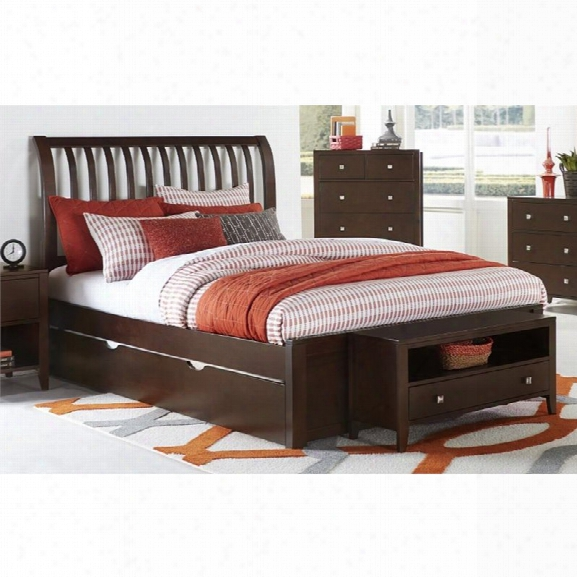 Ne Kids Pulse Queen Sleigh Bed With Trundle In Chocolate