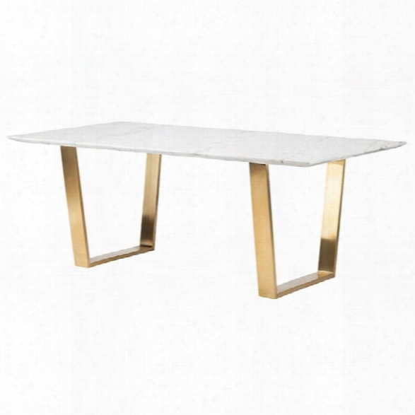 Nuevo Catrine Marble Top Dining Table In Gold And White
