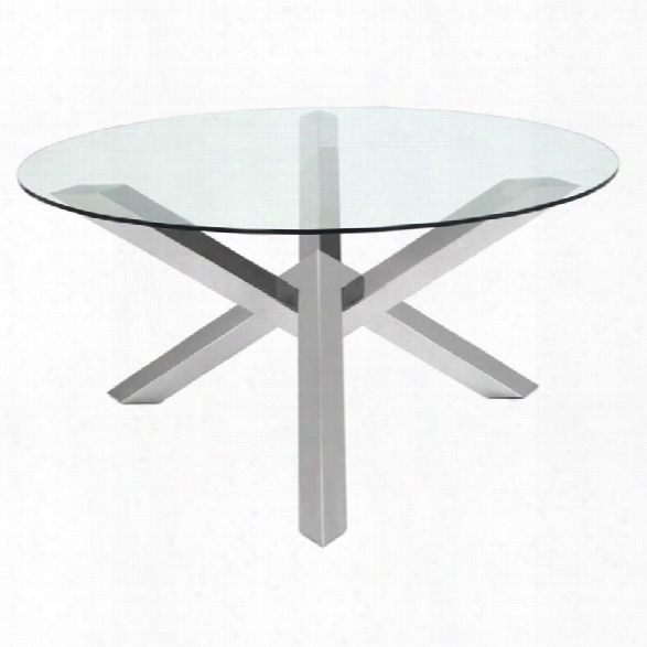 Nuevo Costa 59.25 Round Glass Top Dining Table In Silver