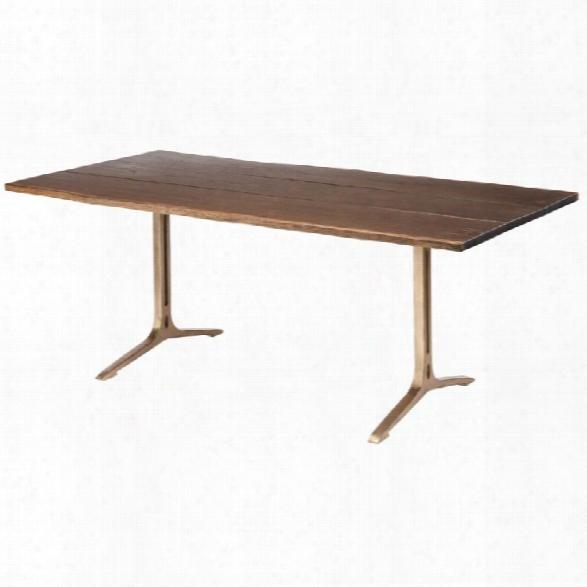 Nuevo Samara 78 Dining Table In Seared Brown And Bronze