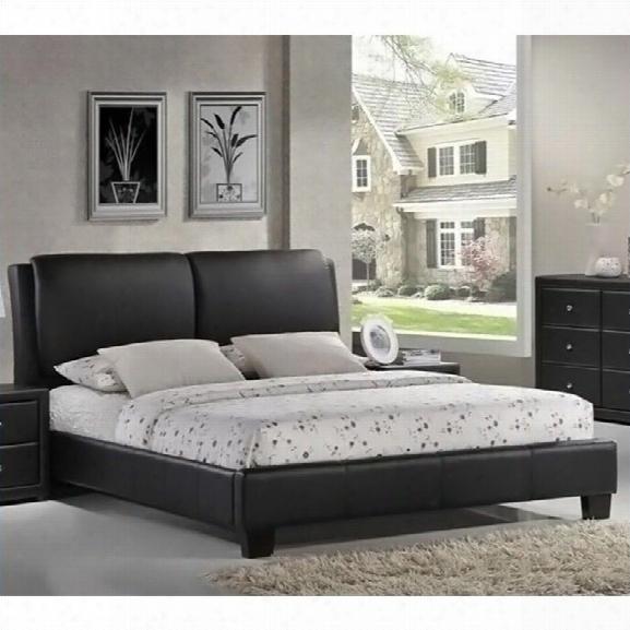 Sabrina Leather Queen Platform Bed In Black
