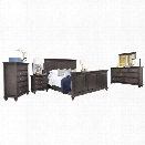 Abbyson Living Breckenridge 6 Piece King Panel Bedroom Set in Gray