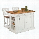 Home Styles Kitchen Island and Stools in White and Distressed Oak