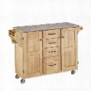 Home Styles Natural Wood Island Cart with Salt and Pepper Granite Top