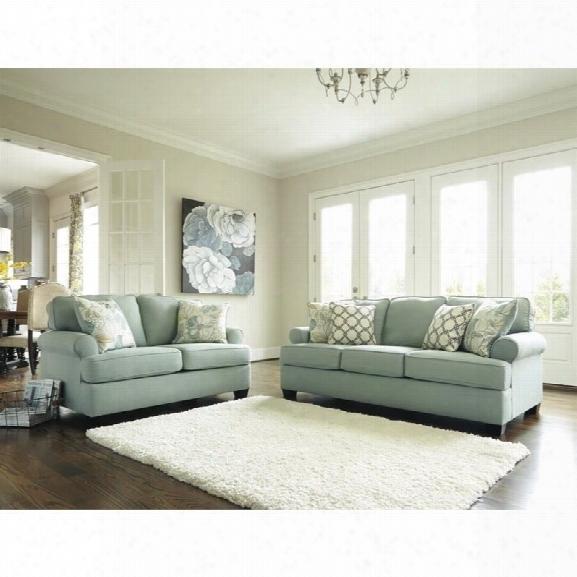 Ashley Daystar 2 Piece Fabric Sofa Set In Seafoam