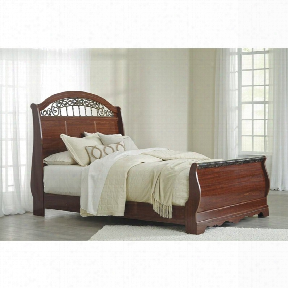 Ashley Fairbrooks Estates Queen Sleigh Bed In Reddish Brown