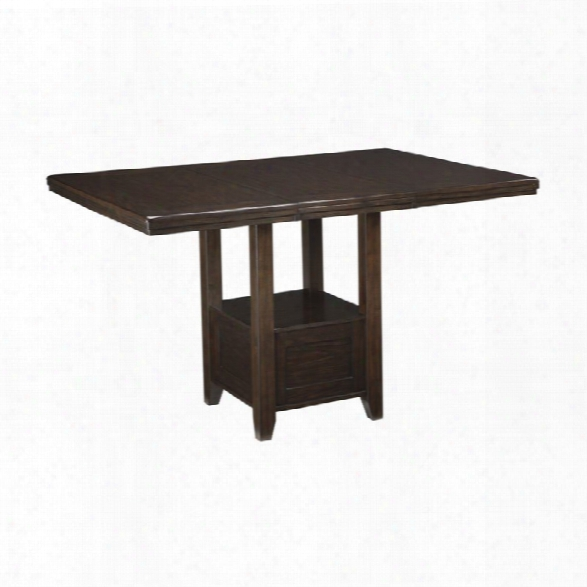 Ashley Haddigan Extendable Counter Height Dining Table In Dark Brown
