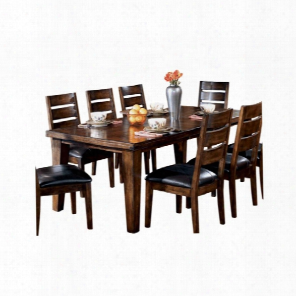 Ashley Larchmont Wood Extendable Dining Rkom Table In Brown