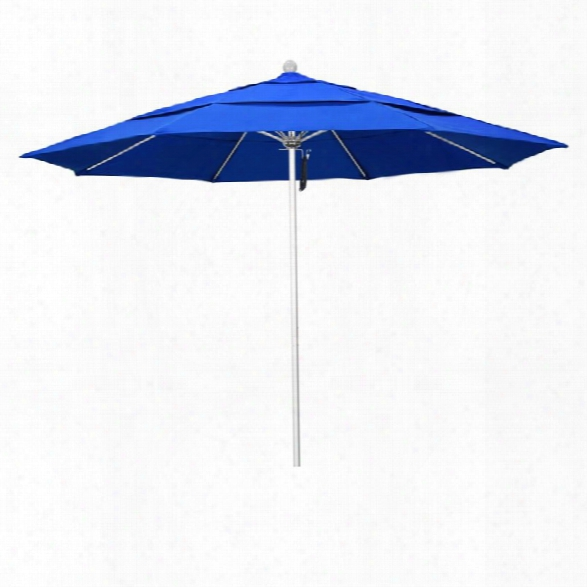 California Umbrella Venture 11' Silver Market Umbrella In Blue