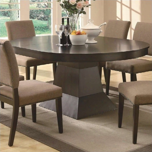 Coaster Myrtle Dining Oval Dining Table With Extension In Coffee