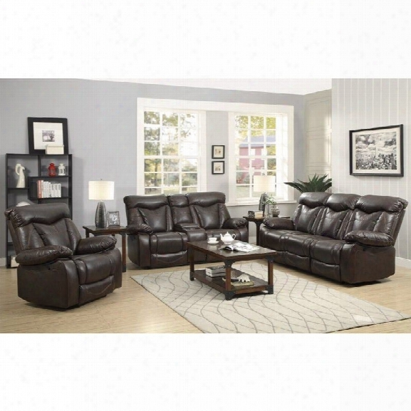 Coaster Zimmerman Faux Leather Motion Reclining Sofa Set In Dark Brown