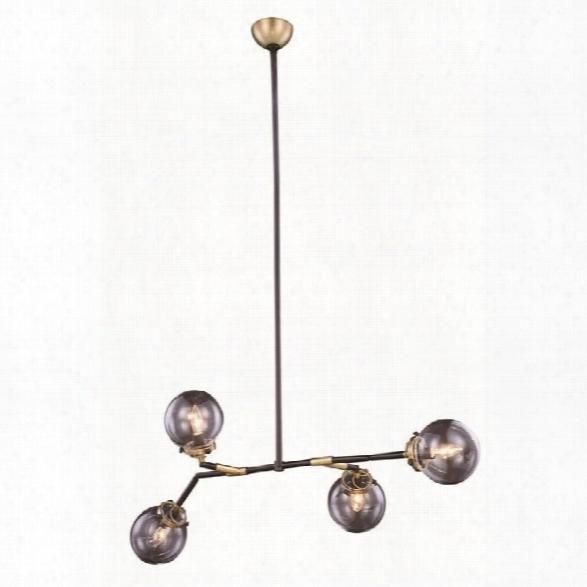 Elegant Lighting Leda 50 4 Light Chandelier In Brass