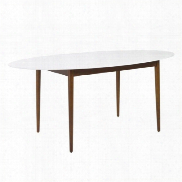 Eurostyle Manon Oval Dining Table 63 In White And Dark Walnut