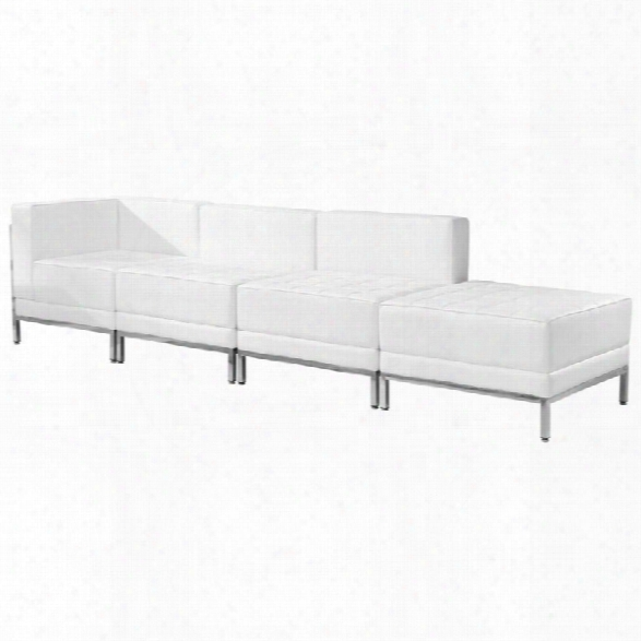 Flash Furniture 4 Piece Leather Reception Sofa Set In White