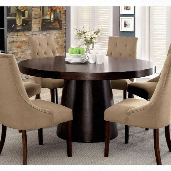 Furniture Of America Alvey Round Dining Table In Espresso
