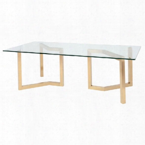 Nuevo Paula Glass Top Metal Dining Table In Gold