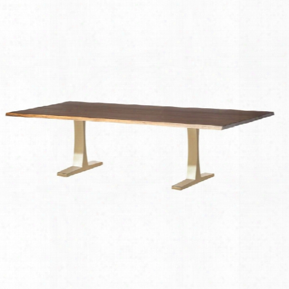 Nuevo Toulouse Dining Table In Seared Brown And Gold