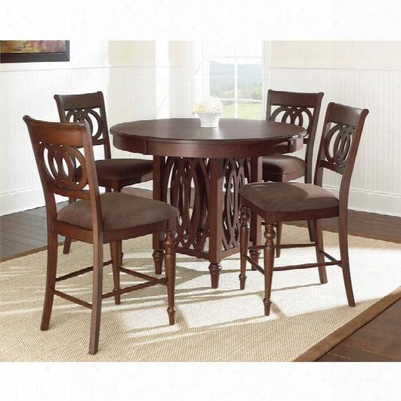 Steve Silver Dolly Counter Height Dining Table In Medium Brown Cherry