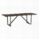 Coaster Genoa U Shaped Base Dining Table in Wire Brushed Cocoa