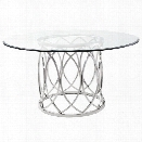 Nuevo Juliette 59 Round Glass Top Dining Table in Silver
