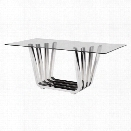 Zuo Fan Glass Dining Table in Chrome
