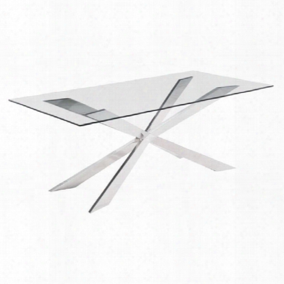 Zuo Rize Glass Dining Table In Chrome