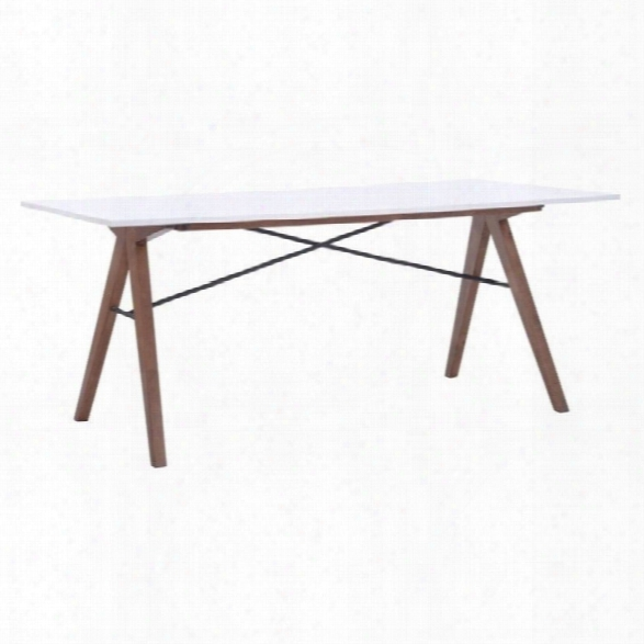 Zuo Saints Rectangiar Glass Dining Table In Walnut