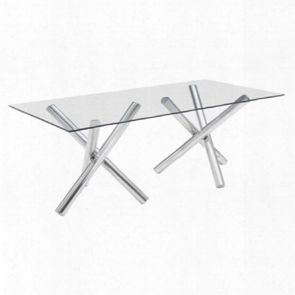Zuo Stant Glass Dining Table In Chrome