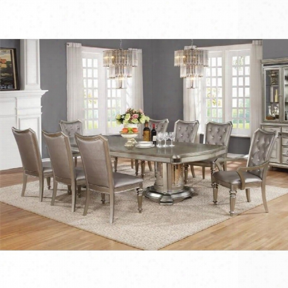 Coaster 7 Piece Dining Set In Metallic Platinum
