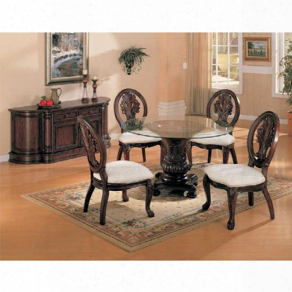 Coaster Tabitha 5 Piece Glass Top Dining Table Set In Dark Cherry