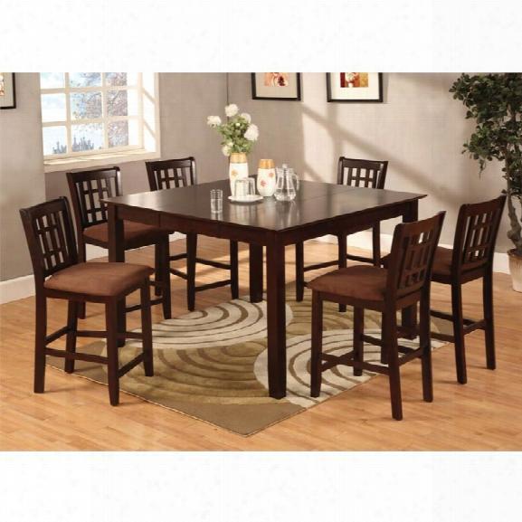 Furniture Of America Elle 7 Piece Pub Height Dining Set In Espresso