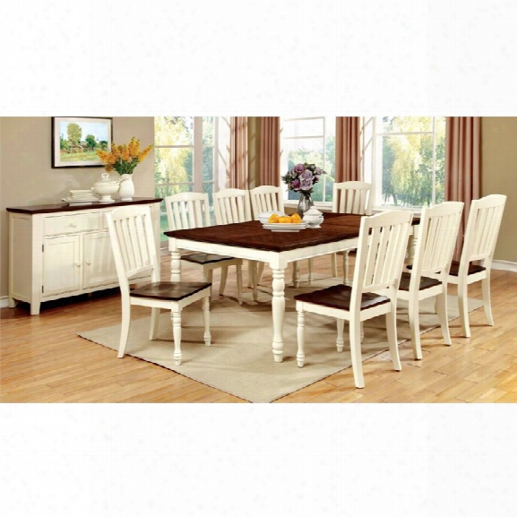 Furniture Of America Gossling 9 Piece Extendable Dining Set In White