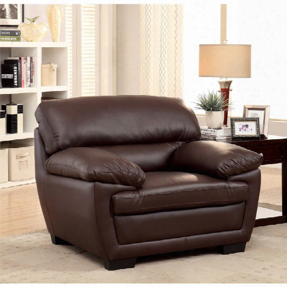 Furniture Of America Jamison Faux Leather Accent Chair In Brown