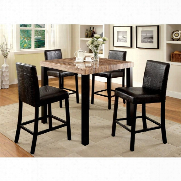 Furniture Of America Kenneth 5 Piece Counter Height Dining Set